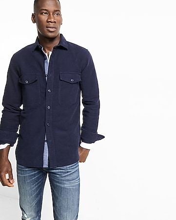 navy moleskin flannel shirt