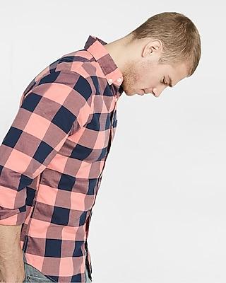 Express Mens Soft Wash Big Check Shirt Orange Medium