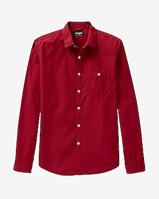 Express Mens Garment Dyed Poplin Shirt Red Small