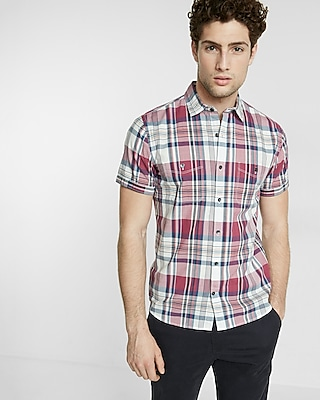 Express Mens Soft Wash Plaid Short Sleeve Shirt
