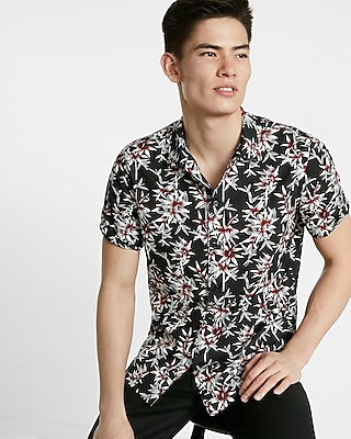 Express Mens Floral Short Sleeve Button-Up Shirt Black X Small