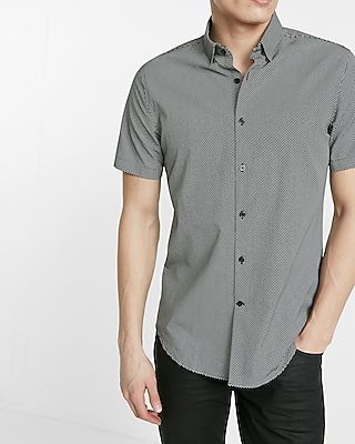 Express Mens Fitted Micro Print Cotton Button-Down Shirt