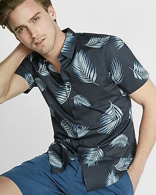 Express Mens Fitted Palm Leaf Button-Down Short Sleeve Shirt