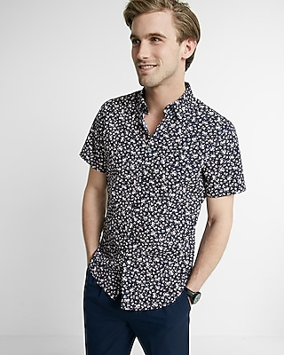 Express Mens Fitted Floral Short Sleeve Cotton Shirt
