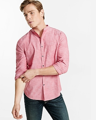 Express Mens Band Collar Chambray Shirt