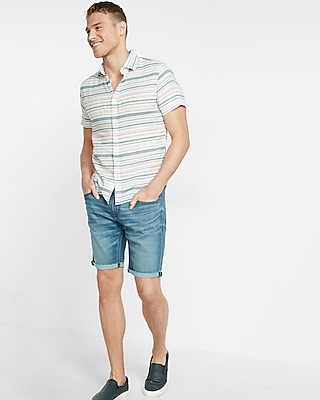 Express Mens Soft Wash Striped Short Sleeve Shirt