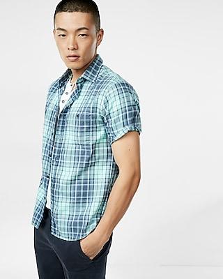 Express Mens Plaid Short Sleeve Shirt