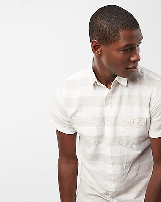 Express Mens Stripe Short Sleeve Shirt