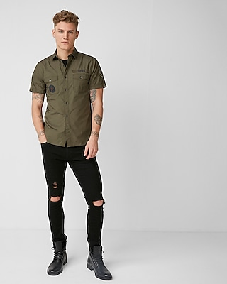 Express Mens Embroidered Patch Military Short Sleeve Shirt