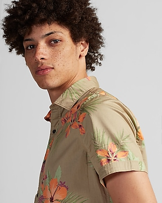 Express Mens Tropical Floral Short Sleeve Cotton Shirt