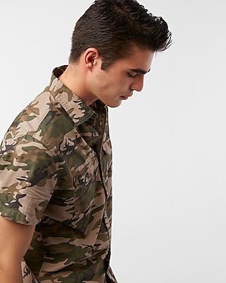 Express Mens Camo Short Sleeve Cotton Shirt