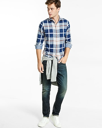 plaid and chambray double weave reversible shirt