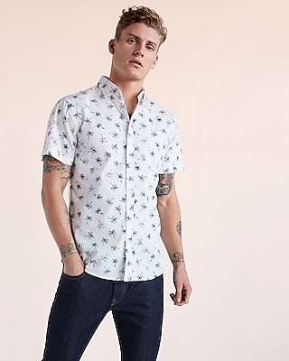 Express Mens Soft Wash Palm Tree Short Sleeve Shirt