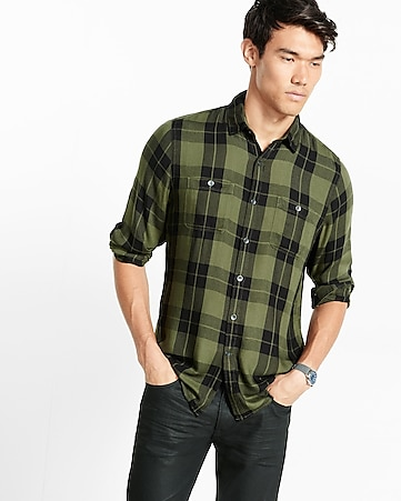 plaid rayon shirt