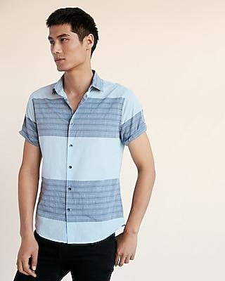 Express Mens Soft Wash Color Block Stripe Short Sleeve Cotton Shirt