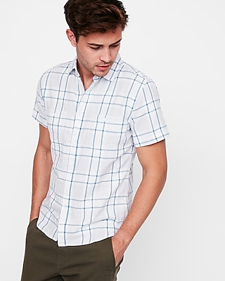 Express Mens Slim Plaid Short Sleeve Double Weave Shirt