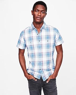 Express Mens Soft Wash Plaid Short Sleeve Double Weave Shirt