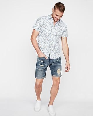 Express Mens Slim Tropical Palm Tree Short Sleeve Cotton Shirt