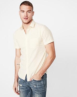 Express Mens Big & Tall Slim Striped Button Collar Short Sleeve Shirt Yellow Men's Xxl Yellow Xxl