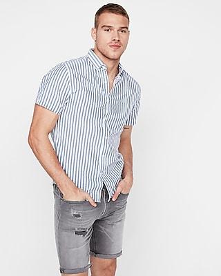 Express Mens Slim Striped Button Collar Short Sleeve Shirt