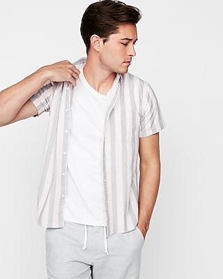Express Mens Slim Stripe Button Down Short Sleeve Shirt