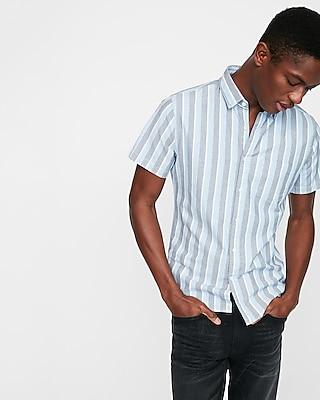 Express Mens Slim Striped One Pocket Short Sleeve Shirt