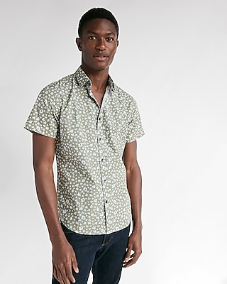 Express Mens Slim Floral Short Sleeve Cotton Shirt Neutral Men's Xs Neutral Xs