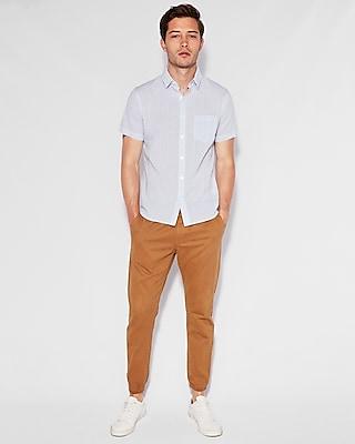 Express Mens Slim Striped Button-Down Short Sleeve Shirt