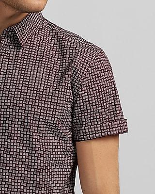 Express Mens Micro Print Short Sleeve Cotton Button-Down Shirt