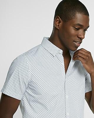 Express Mens Express Mens Slim Fit Circle Print Short-Sleeve Cotton Button-Down Shirt