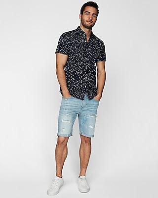 Express Mens Classic Star Print Short Sleeve Shirt Blue Men's Xl Blue Xl