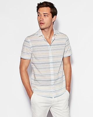 Express Mens Classic Stripe Short Sleeve Cotton Shirt