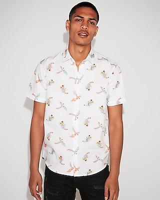 Express Mens Classic Parrot Print Short Sleeve Shirt