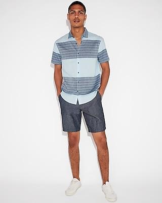 Express Mens Classic Textured Stripe Short Sleeve Shirt