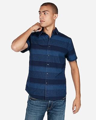 Express Mens Slim Striped Button-Collar Short Sleeve Shirt