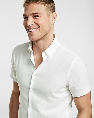 Express Mens Fitted Linen-Blend Short Sleeve Shirt White Small