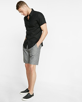 Express Mens Fitted Linen-Blend Short Sleeve Shirt Black Large