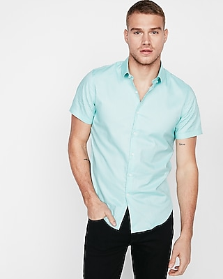 Express Mens Fitted Solid Short Sleeve Oxford 1Mx Dress Shirt