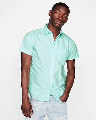 Express Mens Slim Garment Dyed Cotton Short Sleeve Shirt Green X Small