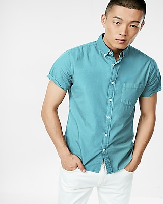 Express Mens Garment Dyed Button Collar Short Sleeve Shirt