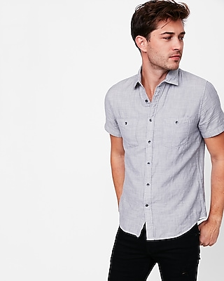 Express Mens Soft Wash Double Weave Short Sleeve Cotton Shirt