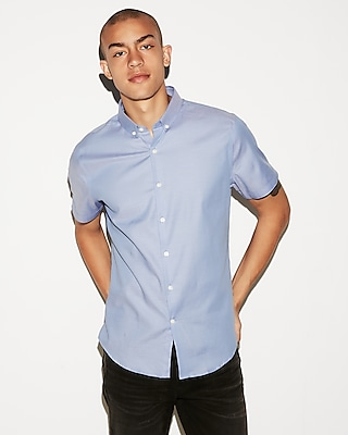 Express Mens Slim Easy Care Short Sleeve 1Mx Shirt Blue Men's Xs Blue Xs