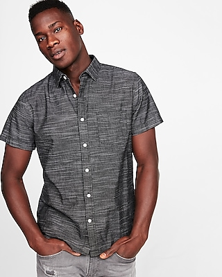 Express Mens Slim Space Dyed Slub Short Sleeve Shirt
