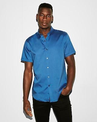 Express Mens Slim Short Sleeve 1Mx Shirt Blue Men's S Blue S