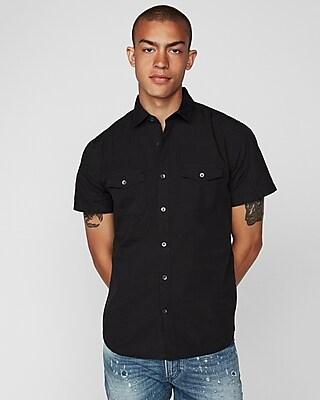 Express Mens Slim Garment Dyed Short Sleeve Shirt Black Men's Xs Black Xs 14928550