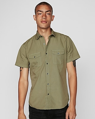 Express Mens Slim Garment Dyed Short Sleeve Shirt Neutral Men's Xs Neutral Xs