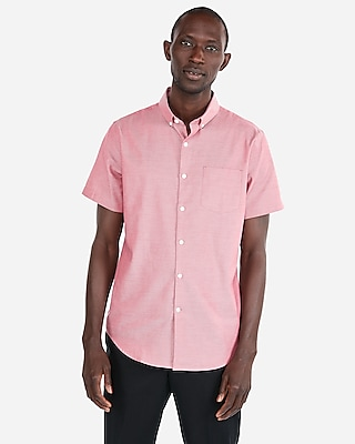 Express Mens Slim Short Sleeve 1Mx Button-Down Shirt