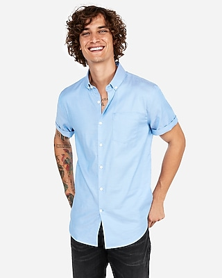 Express Mens Slim Short Sleeve 1Mx Button-Down Shirt Blue Men's Xs Blue Xs