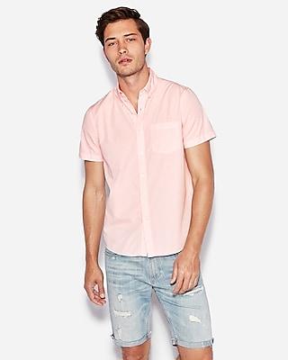 Express Mens Classic Garment Dyed Button-Down Short Sleeve Shirt