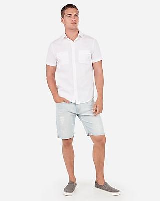 Express Mens Slim Solid Short Sleeve Shirt